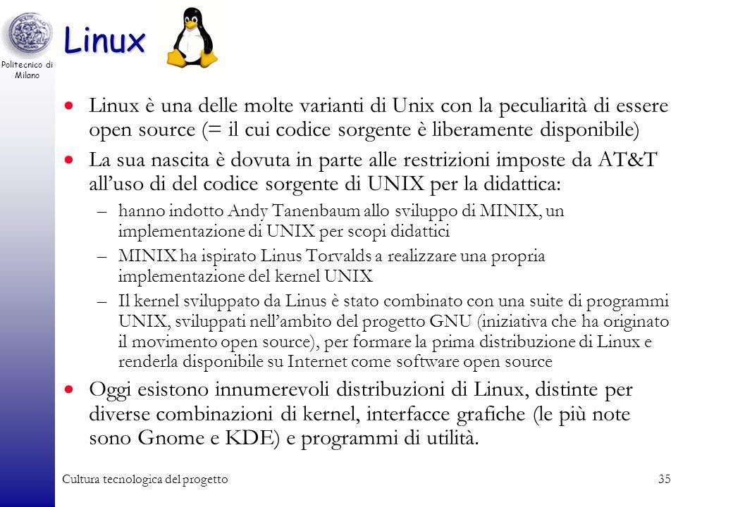 Politecnico di Milano Cultura tecnologica del progetto34 Unix Sistema Operativo: –multi-utente, –multi-tasking, con time-sharing Nato negli anni 60 co
