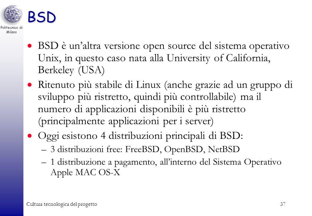 Politecnico di Milano Cultura tecnologica del progetto36 Linux Gnome KDE