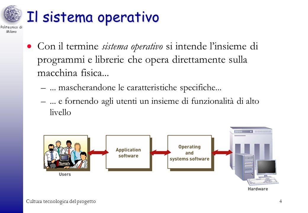 Politecnico di Milano Cultura tecnologica del progetto3 Software: di sistema e applicativo Di sistema: controlla il comportamento del sistema stesso –