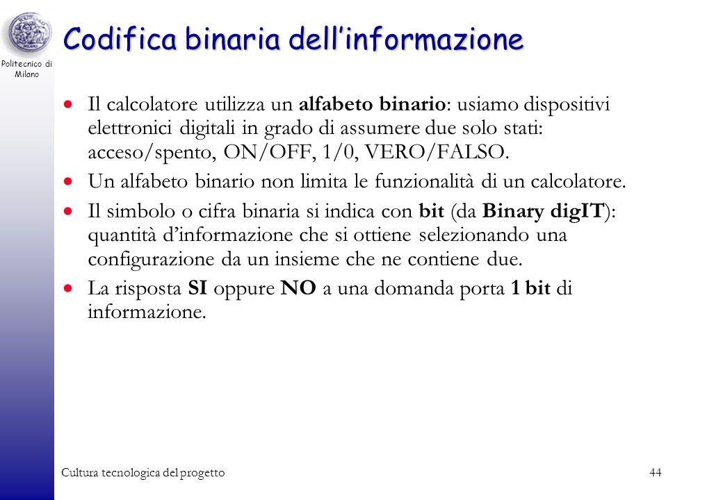 Politecnico di Milano Cultura tecnologica del progetto43 Codifica dati e istruzioni Codice (semantica): insieme di regole che ad ogni configurazione a