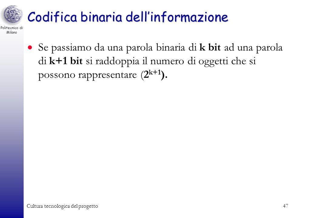 Politecnico di Milano Cultura tecnologica del progetto46 Codifica binaria dellinformazione Quanti oggetti diversi posso codificare con parole binarie