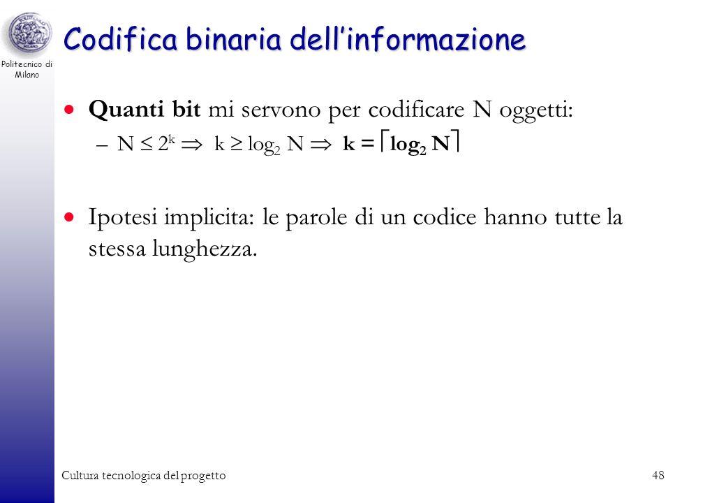 Politecnico di Milano Cultura tecnologica del progetto47 Codifica binaria dellinformazione Se passiamo da una parola binaria di k bit ad una parola di