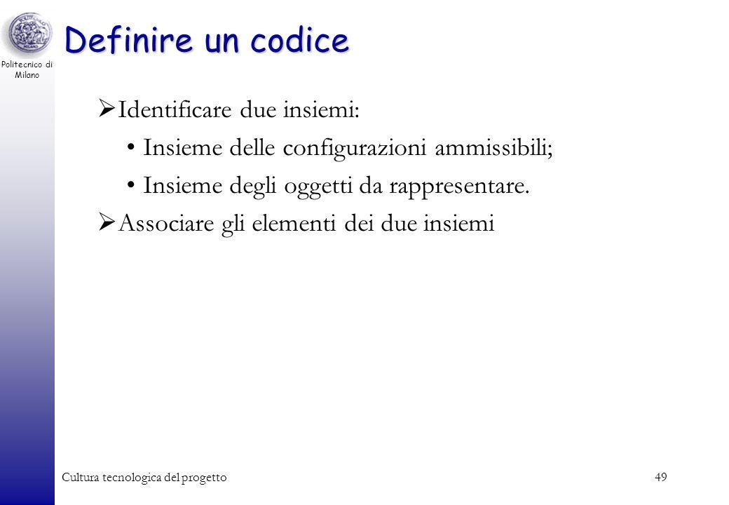 Politecnico di Milano Cultura tecnologica del progetto48 Codifica binaria dellinformazione Quanti bit mi servono per codificare N oggetti: –N 2 k k lo