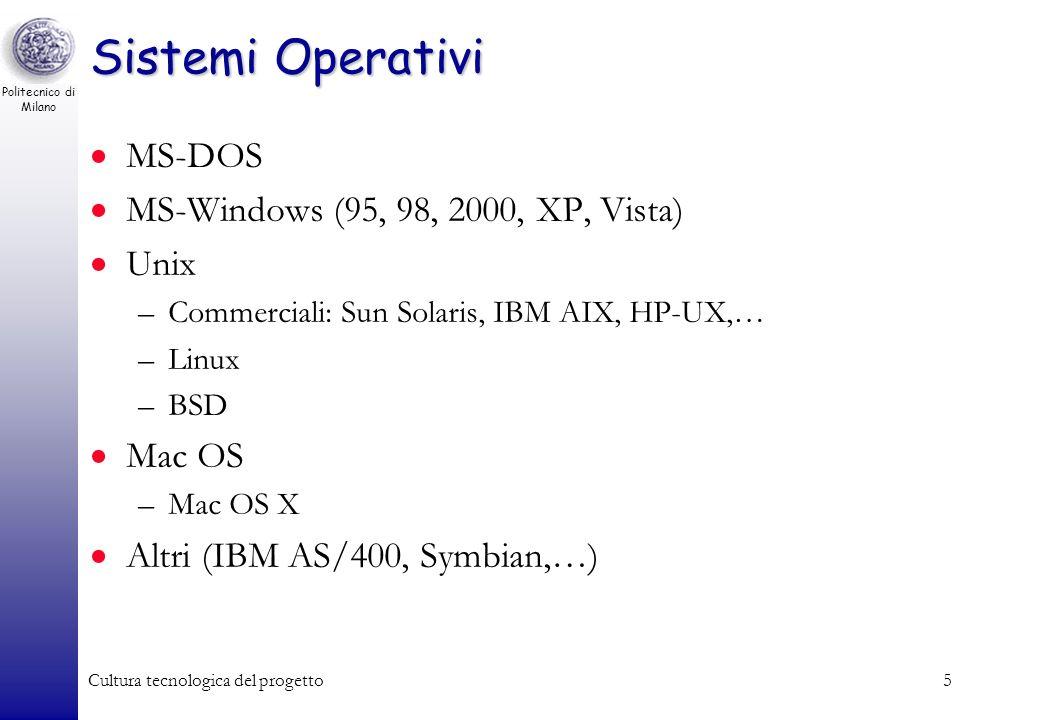 Politecnico di Milano Cultura tecnologica del progetto4 Il sistema operativo Con il termine sistema operativo si intende linsieme di programmi e libre
