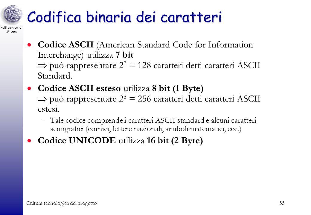 Politecnico di Milano Cultura tecnologica del progetto54 Codifica binaria dei caratteri Quanti sono gli oggetti da rappresentare? –26 lettere maiuscol