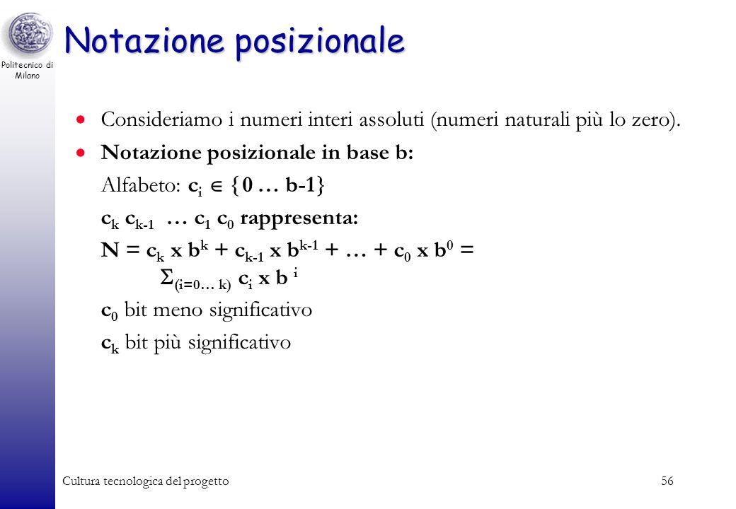 Politecnico di Milano Cultura tecnologica del progetto55 Codifica binaria dei caratteri Codice ASCII (American Standard Code for Information Interchan