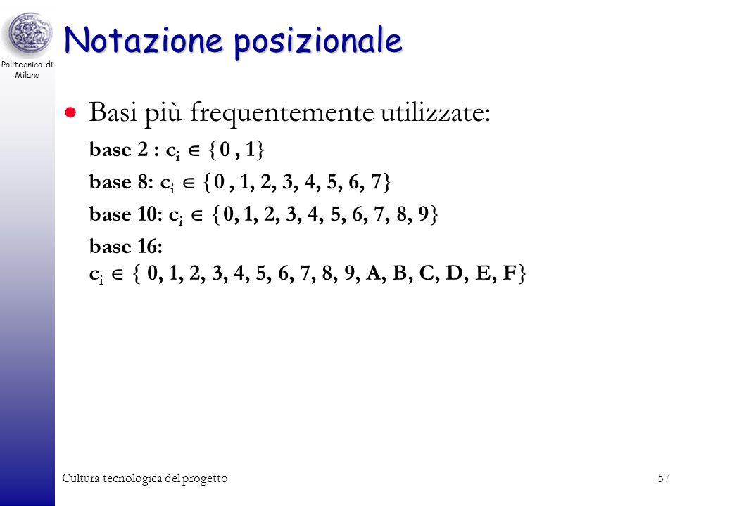 Politecnico di Milano Cultura tecnologica del progetto56 Notazione posizionale Consideriamo i numeri interi assoluti (numeri naturali più lo zero). No
