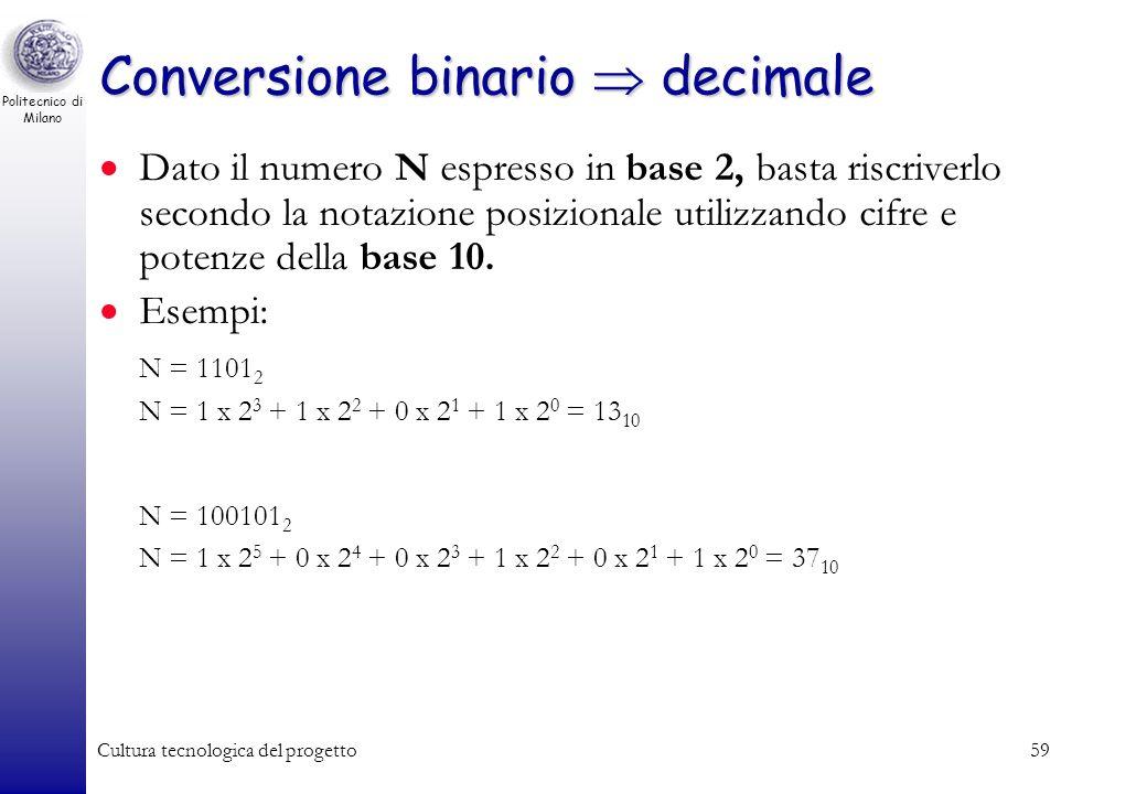 Politecnico di Milano Cultura tecnologica del progetto58 Codifica binaria Numeri binari: base b = 2 Alfabeto binario: cifre c i 0, 1 (c k … c 1 c 0 )
