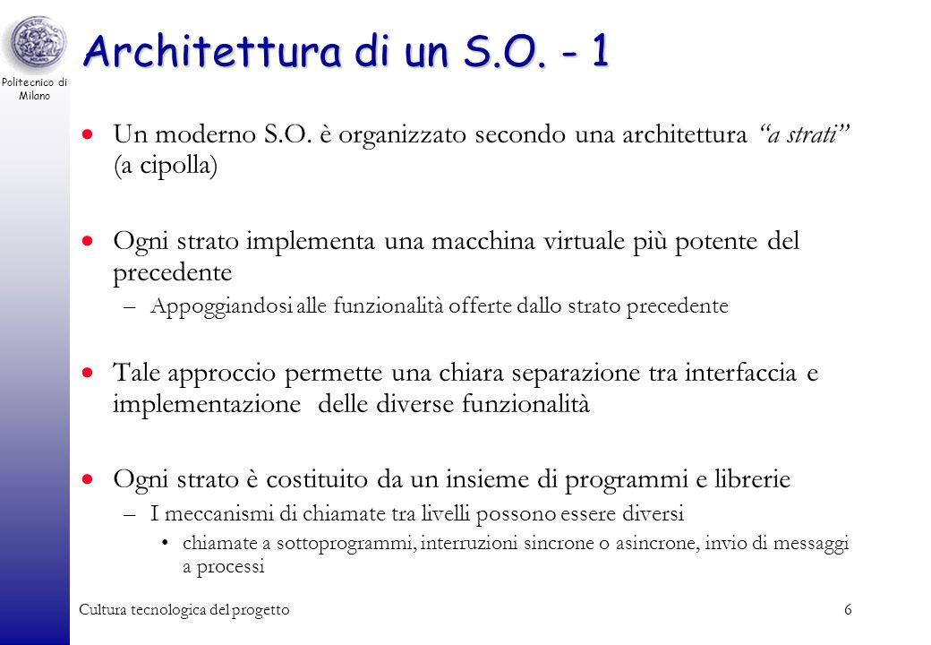 Politecnico di Milano Cultura tecnologica del progetto5 Sistemi Operativi MS-DOS MS-Windows (95, 98, 2000, XP, Vista) Unix –Commerciali: Sun Solaris,
