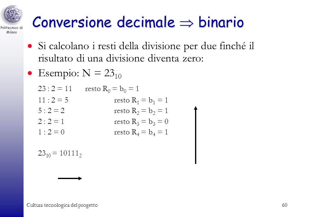 Politecnico di Milano Cultura tecnologica del progetto59 Conversione binario decimale Dato il numero N espresso in base 2, basta riscriverlo secondo l