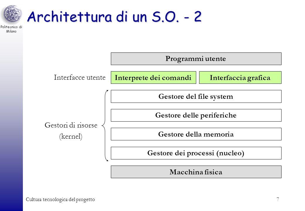 Politecnico di Milano Cultura tecnologica del progetto6 Architettura di un S.O. - 1 Un moderno S.O. è organizzato secondo una architettura a strati (a