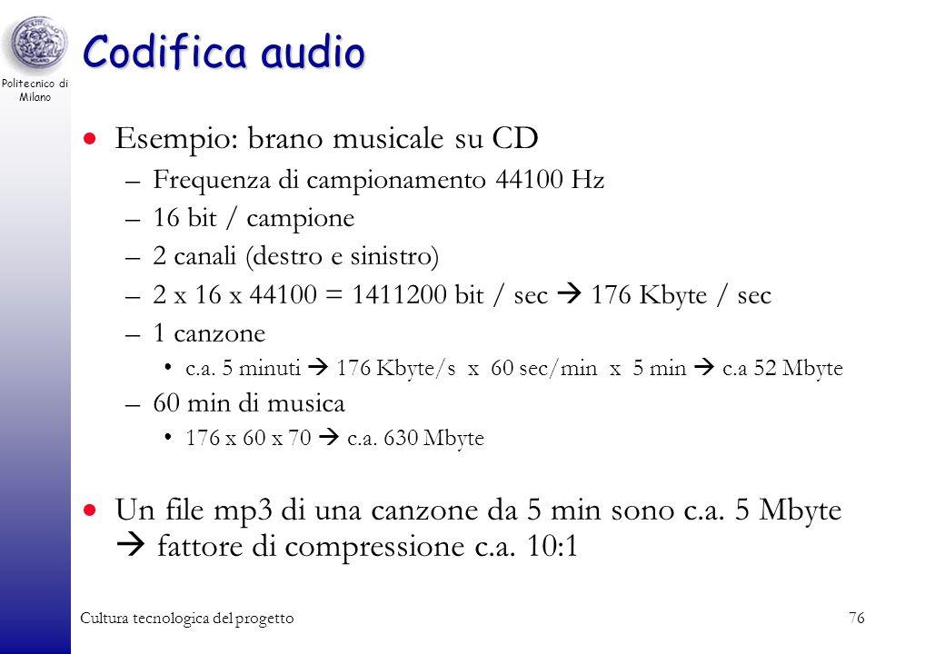 Politecnico di Milano Cultura tecnologica del progetto75 Quantizzazione 4 bit / campione8 bit / campione