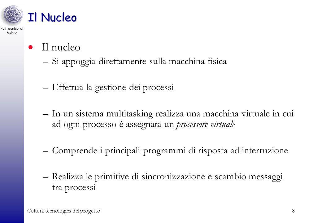 Politecnico di Milano Cultura tecnologica del progetto7 Architettura di un S.O. - 2 Macchina fisica Gestore dei processi (nucleo) Gestore della memori