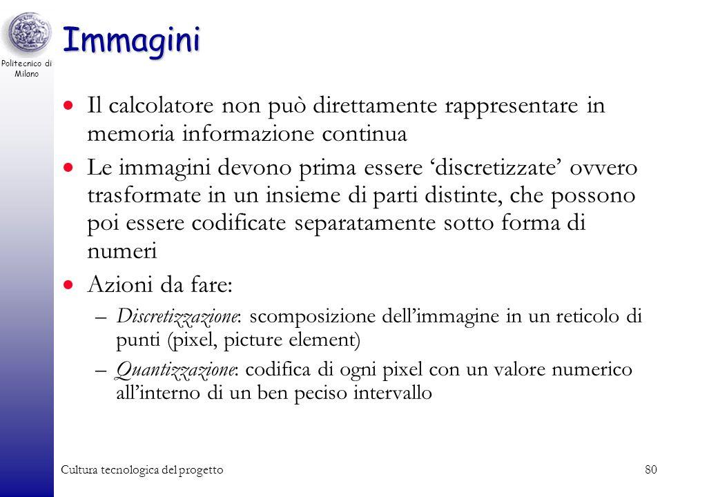 Politecnico di Milano Cultura tecnologica del progetto79 Rappresentazione di immagini In generale le immagini sono un continuo di informazioni –Non so