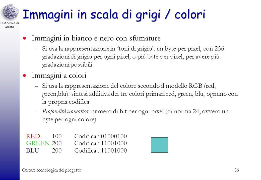 Politecnico di Milano Cultura tecnologica del progetto85 Immagini b/n: Un esempio 000000000000000000000000 000000000011111111000000 000000000010000010