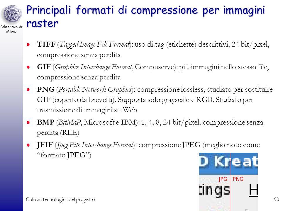 Politecnico di Milano Cultura tecnologica del progetto89 Codifica di immagini In fase di codifica esiste la necessità di adottare tecniche di compress