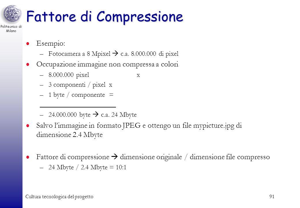 Politecnico di Milano Cultura tecnologica del progetto90 Principali formati di compressione per immagini raster TIFF (Tagged Image File Format): uso d