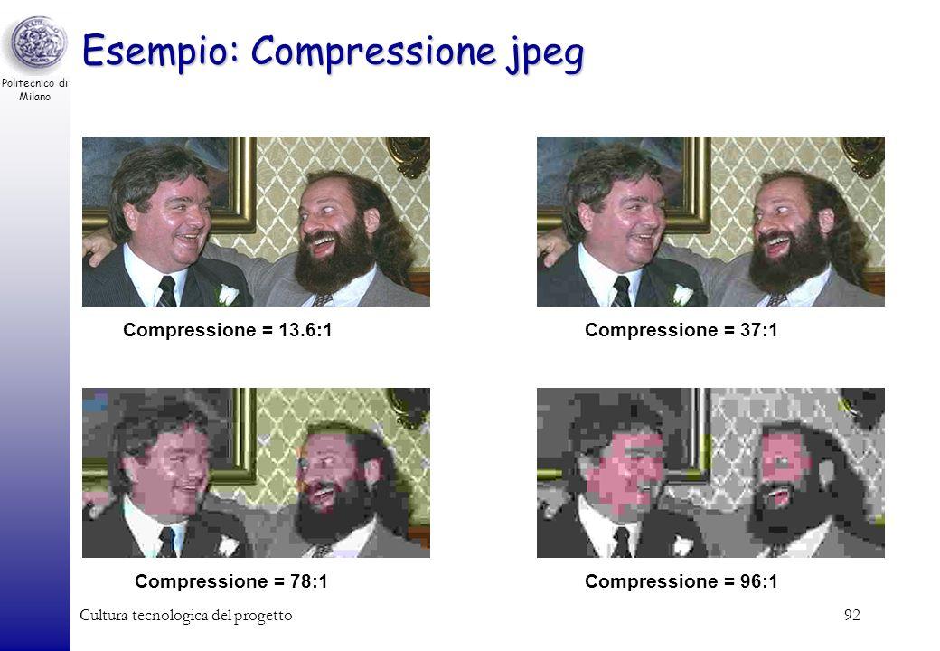 Politecnico di Milano Cultura tecnologica del progetto91 Fattore di Compressione Esempio: –Fotocamera a 8 Mpixel c.a. 8.000.000 di pixel Occupazione i