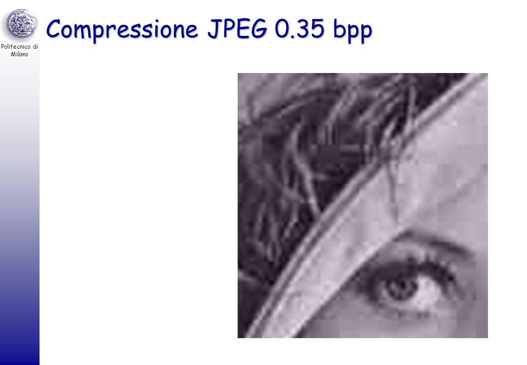 Politecnico di Milano Compressione JPEG 0.35 bpp Fattore di compressione –8 bpp / 0.35 bpp = 22.8