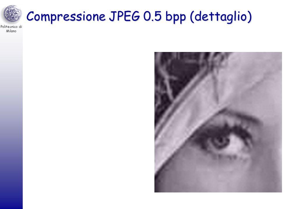 Politecnico di Milano Compressione JPEG 0.5 bpp Fattore di compressione –8 bpp / 0.5 bpp = 16