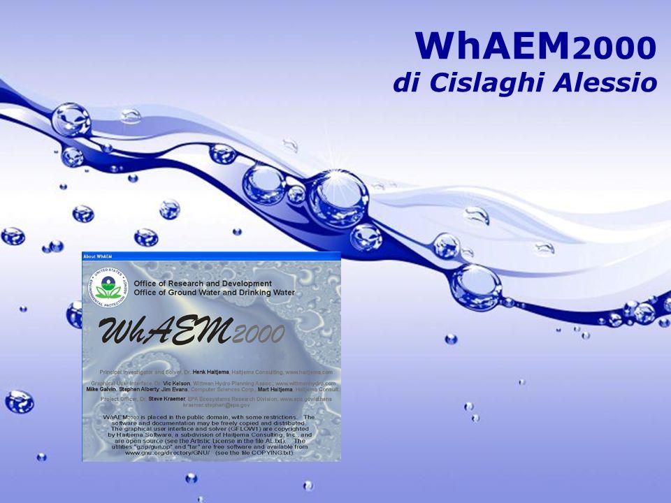 Free Powerpoint Templates Page 2 Programma: scopo e finalità WhAEM2000, acronimo di Wellhead Analytic Element Model, è uno dei principali programmi per calcolatori, creato per progettazioni nel settore idrogeologico.