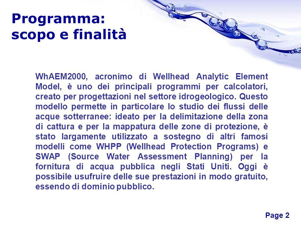 Free Powerpoint Templates Page 2 Programma: scopo e finalità WhAEM2000, acronimo di Wellhead Analytic Element Model, è uno dei principali programmi pe