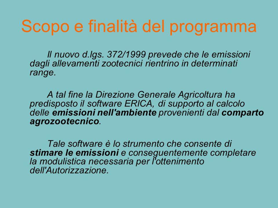Scopo e finalità del programma Il nuovo d.lgs. 372/1999 prevede che le emissioni dagli allevamenti zootecnici rientrino in determinati range. A tal fi