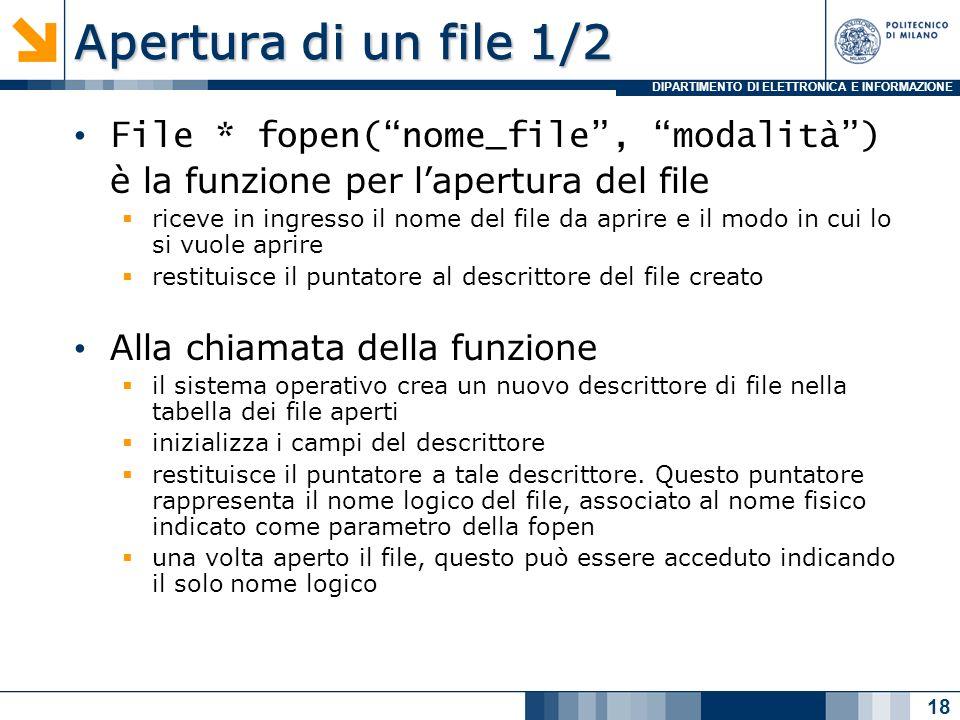 DIPARTIMENTO DI ELETTRONICA E INFORMAZIONE Apertura di un file 1/2 File * fopen(nome_file, modalità) è la funzione per lapertura del file riceve in ingresso il nome del file da aprire e il modo in cui lo si vuole aprire restituisce il puntatore al descrittore del file creato Alla chiamata della funzione il sistema operativo crea un nuovo descrittore di file nella tabella dei file aperti inizializza i campi del descrittore restituisce il puntatore a tale descrittore.
