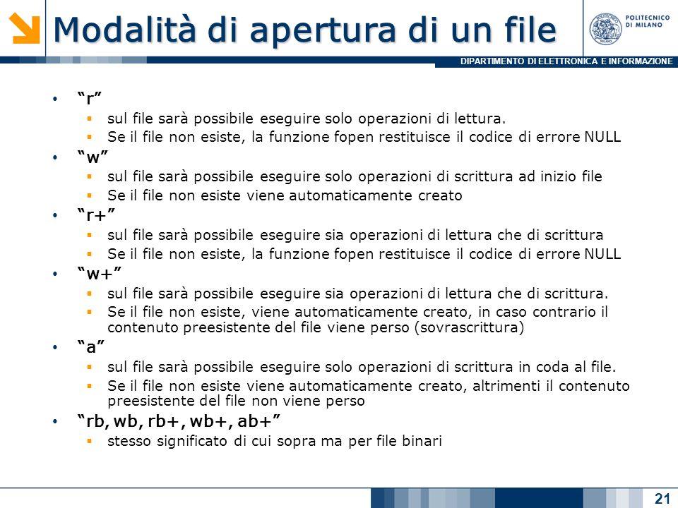 DIPARTIMENTO DI ELETTRONICA E INFORMAZIONE Modalità di apertura di un file r sul file sarà possibile eseguire solo operazioni di lettura.