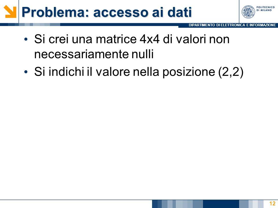 DIPARTIMENTO DI ELETTRONICA E INFORMAZIONE Problema: accesso ai dati Si crei una matrice 4x4 di valori non necessariamente nulli Si indichi il valore nella posizione (2,2) 12