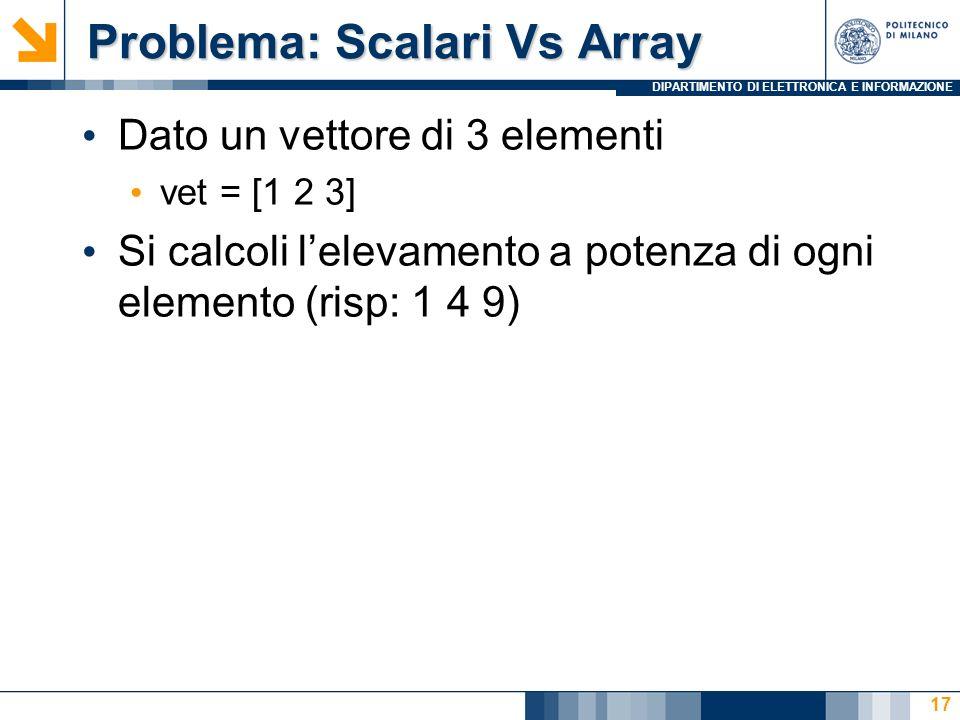 DIPARTIMENTO DI ELETTRONICA E INFORMAZIONE Problema: Scalari Vs Array Problema: Scalari Vs Array Dato un vettore di 3 elementi vet = [1 2 3] Si calcoli lelevamento a potenza di ogni elemento (risp: 1 4 9) 17