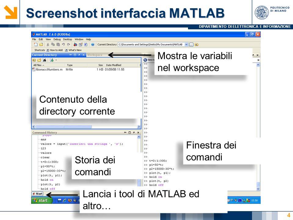 DIPARTIMENTO DI ELETTRONICA E INFORMAZIONE Screenshot dellinterfaccia OCTAVE Linea di comando dellinterprete 5