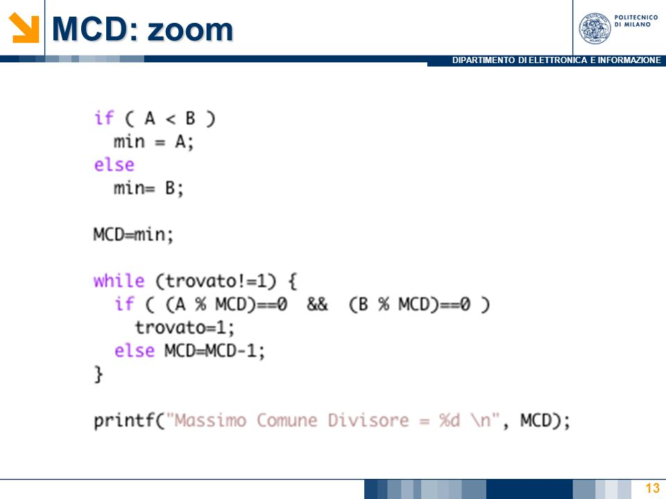 DIPARTIMENTO DI ELETTRONICA E INFORMAZIONE MCD: zoom 13