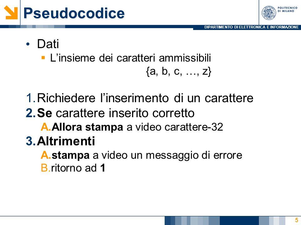 DIPARTIMENTO DI ELETTRONICA E INFORMAZIONE MaIuScOli: codice 6