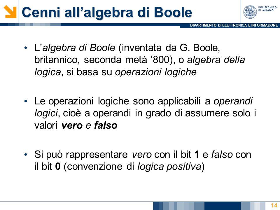 DIPARTIMENTO DI ELETTRONICA E INFORMAZIONE 14 Lalgebra di Boole (inventata da G. Boole, britannico, seconda metà 800), o algebra della logica, si basa