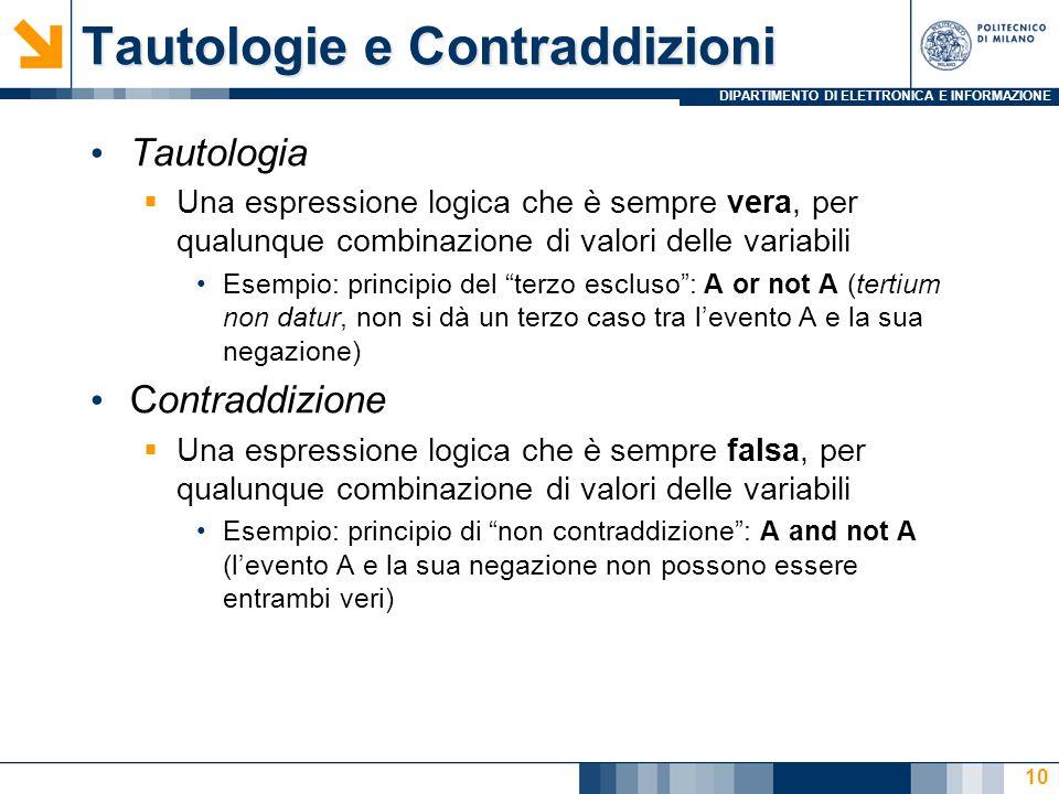 DIPARTIMENTO DI ELETTRONICA E INFORMAZIONE 10 Tautologia Una espressione logica che è sempre vera, per qualunque combinazione di valori delle variabil