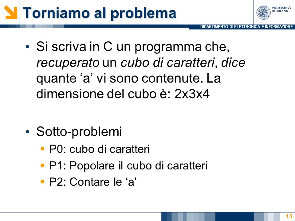 DIPARTIMENTO DI ELETTRONICA E INFORMAZIONE Torniamo al problema Si scriva in C un programma che, recuperato un cubo di caratteri, dice quante a vi sono contenute.