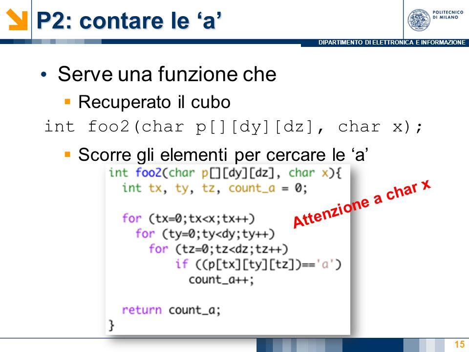 DIPARTIMENTO DI ELETTRONICA E INFORMAZIONE P2: contare le a Serve una funzione che Recuperato il cubo Scorre gli elementi per cercare le a 15 int foo2(char p[][dy][dz], char x); Attenzione a char x