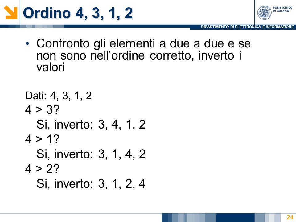 DIPARTIMENTO DI ELETTRONICA E INFORMAZIONE Ordino 4, 3, 1, 2 Confronto gli elementi a due a due e se non sono nellordine corretto, inverto i valori Dati: 4, 3, 1, 2 4 > 3.