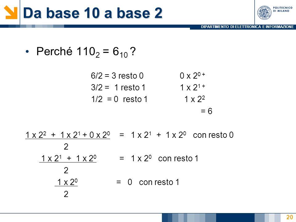 DIPARTIMENTO DI ELETTRONICA E INFORMAZIONE Da base 10 a base 2 Perché 110 2 = 6 10 ? 6/2 = 3 resto 00 x 2 0 + 3/2 = 1 resto 11 x 2 1 + 1/2 = 0 resto 1