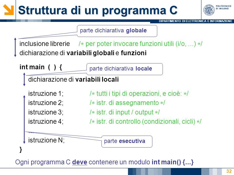 DIPARTIMENTO DI ELETTRONICA E INFORMAZIONE 32 Struttura di un programma C inclusione librerie / per poter invocare funzioni utili (i/o,...) / dichiarazione di variabili globali e funzioni int main ( ) { dichiarazione di variabili locali istruzione 1; / tutti i tipi di operazioni, e cioè: / istruzione 2; / istr.