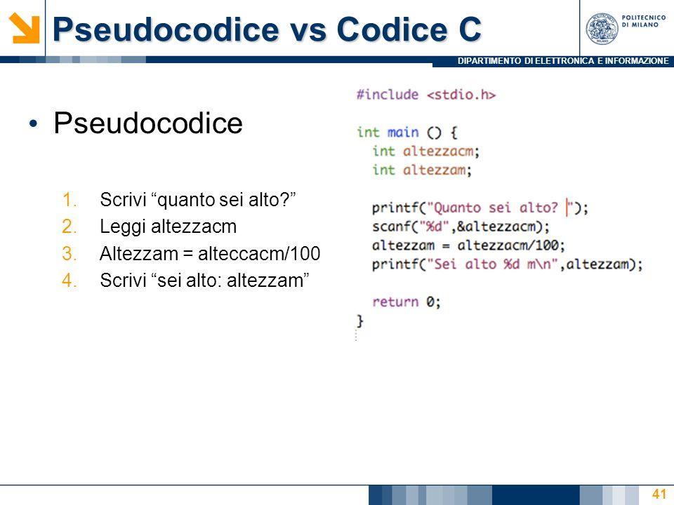 DIPARTIMENTO DI ELETTRONICA E INFORMAZIONE Pseudocodice vs Codice C Pseudocodice 1.Scrivi quanto sei alto.