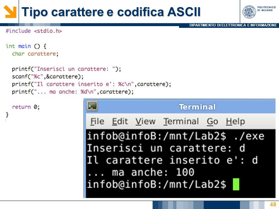DIPARTIMENTO DI ELETTRONICA E INFORMAZIONE Tipo carattere e codifica ASCII 48