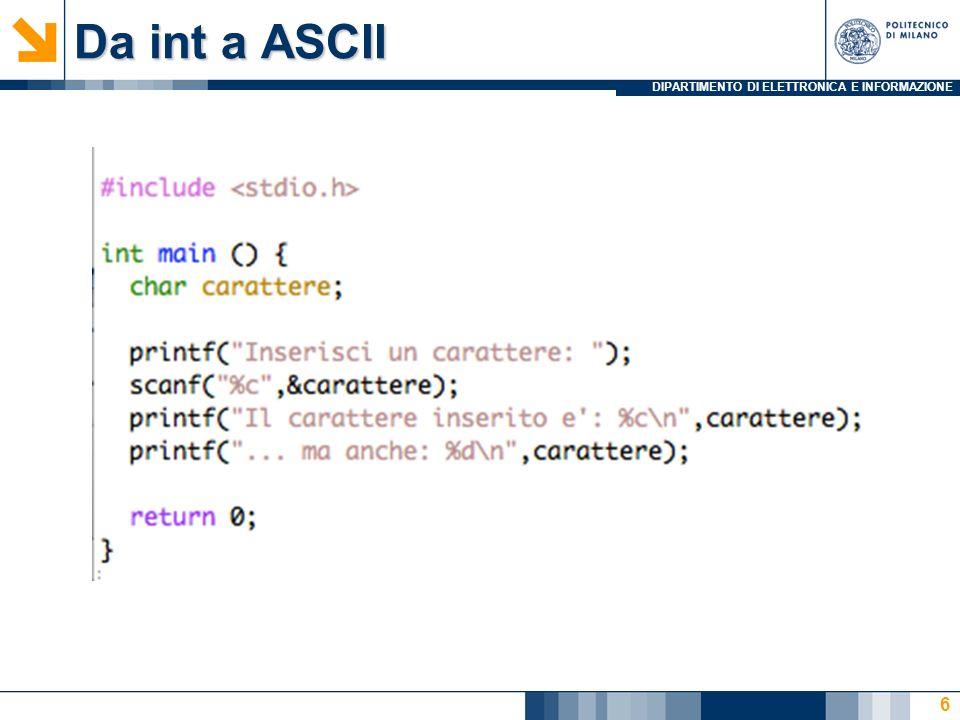 DIPARTIMENTO DI ELETTRONICA E INFORMAZIONE Lab 2: Agenda Esercizi Lab2 Warm Up (50) Da int a ASCII (10) La ricerca del maggiore su N numeri (20 +10) Inserisci nome (10) Qualche cosa un pò più divertente (85) calcolatrice (35) La gara di tuffi, con salvataggio (40) Inserisci nome e copia stringa (10) Altri exe… (105) MCD (50) mcm (55) 27