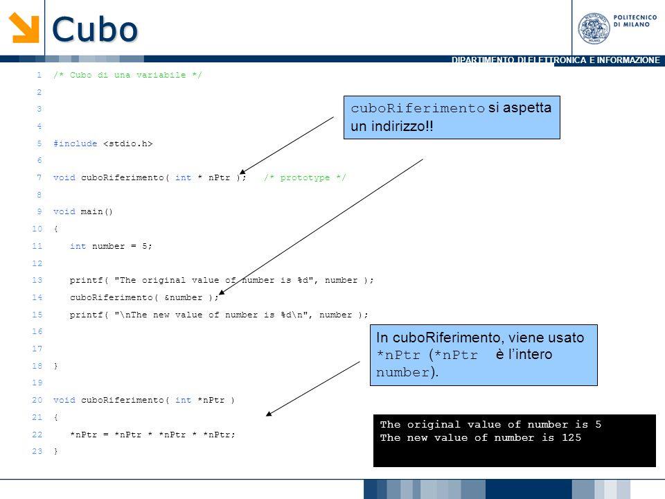 DIPARTIMENTO DI ELETTRONICA E INFORMAZIONE 1/* Cubo di una variabile */ 2 3 4 5#include 6 7void cuboRiferimento( int * nPtr ); /* prototype */ 8 9void