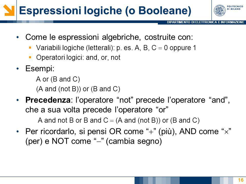 DIPARTIMENTO DI ELETTRONICA E INFORMAZIONE 16 Come le espressioni algebriche, costruite con: Variabili logiche (letterali): p. es. A, B, C 0 oppure 1