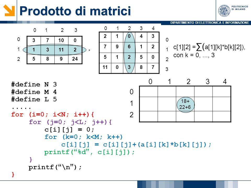 DIPARTIMENTO DI ELETTRONICA E INFORMAZIONE Prodotto di matrici #define N 3 #define M 4 #define L 5..... for (i=0; i<N; i++){ for (j=0; j<L; j++){ c[i]