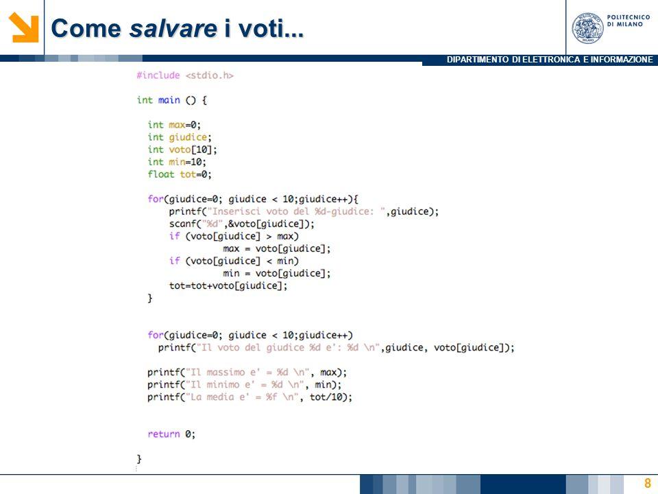 DIPARTIMENTO DI ELETTRONICA E INFORMAZIONE 19 /* Output Strutturato: Stampa di un istogramma */ #include #define SIZE 10 int main () { int n[SIZE] = { 19, 3, 15, 7, 11, 9, 13, 5, 17, 1 }; int i, j; printf( %s%13s%17s\n\n , Element , Value , Histogram ); for( i = 0 ; i < SIZE ; i++ ) { printf( %7d%13d , i, n[i]); for( j = 1 ; j <= n[i] ; j++ ) /* una riga di * */ printf( * ); printf( \n ); } return 0; } Problema: stampa istogramma