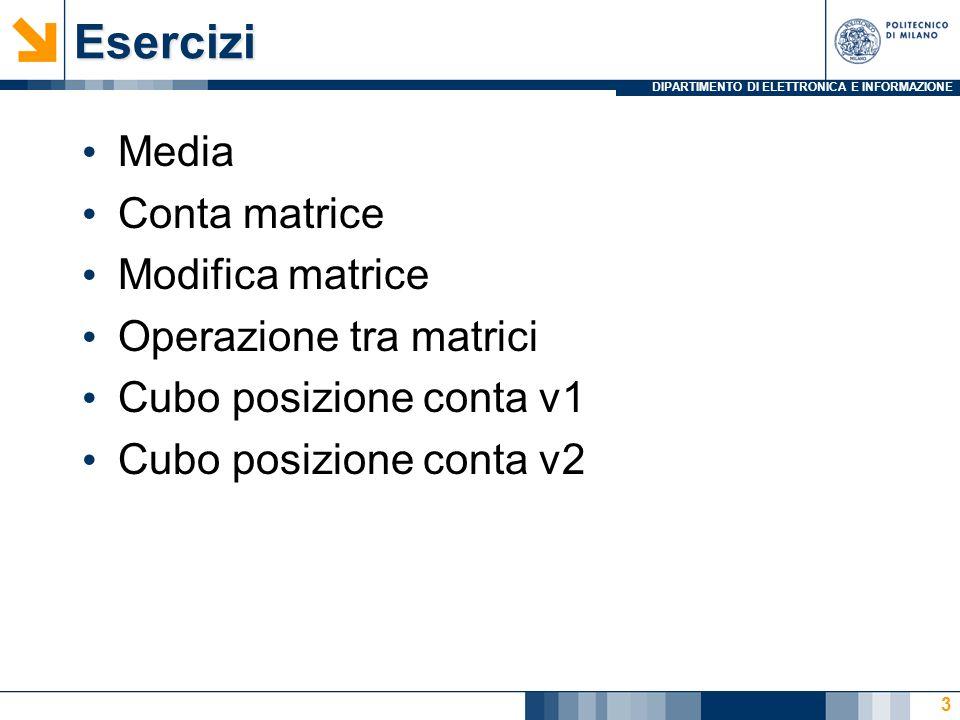 DIPARTIMENTO DI ELETTRONICA E INFORMAZIONEEsercizi Media Conta matrice Modifica matrice Operazione tra matrici Cubo posizione conta v1 Cubo posizione conta v2 3
