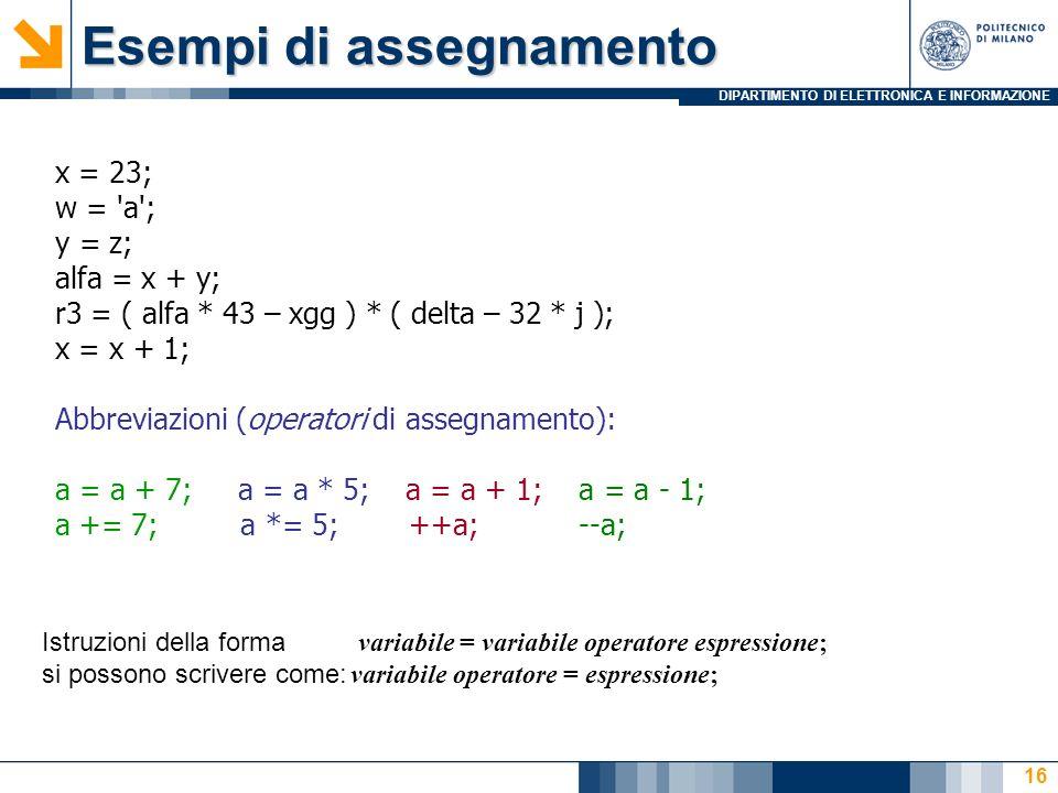 DIPARTIMENTO DI ELETTRONICA E INFORMAZIONE 16 x = 23; w = a ; y = z; alfa = x + y; r3 = ( alfa * 43 – xgg ) * ( delta – 32 * j ); x = x + 1; Abbreviazioni (operatori di assegnamento): a = a + 7; a = a * 5; a = a + 1; a = a - 1; a += 7; a *= 5; ++a; --a; Esempi di assegnamento Istruzioni della forma variabile = variabile operatore espressione; si possono scrivere come: variabile operatore = espressione;